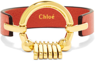 Chloé - Leather And Gold-tone Bracelet - Red $425 thestylecure.com