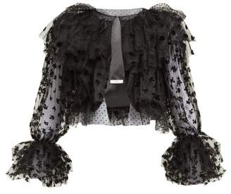 Erdem Stefania Ruffled Flocked Tulle Jacket - Womens - Black