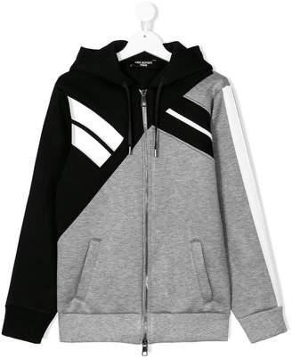 Neil Barrett Kids TEEN colour-block zip-up hoodie