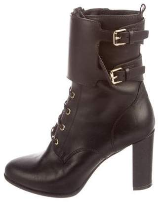 Valentino Leather Lace-Up Ankle Boots