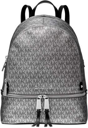 Michael Kors Metallic Signature Rhea Zip Backpack