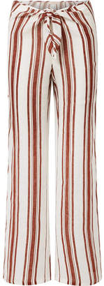 Tory Burch Kellen Striped Linen-gauze Wide-leg Pants - Brown