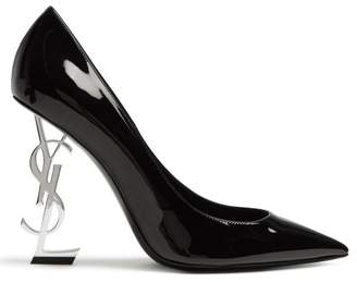 Saint Laurent Opyum Logo Heel Patent Leather Pumps - Womens - Black