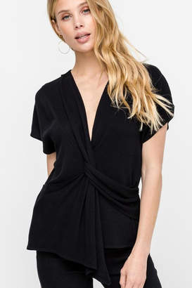 ALL IN FAVOR V-Neck Blouse Black