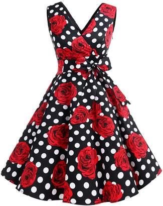 Dresstells reg; Vintage 1950s Solid Color V Neck with Bow Tie Retro Swing Dress L