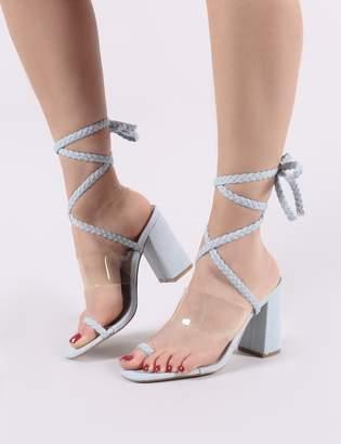 98010d4da37 Public Desire Mia Lace Up Block Heeled Sandals in Lightwash Denim