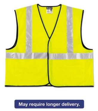MCR Safety Class 2 Safety Vest, Lime Green w/Silver Stripe, Polyester, 4X-Large
