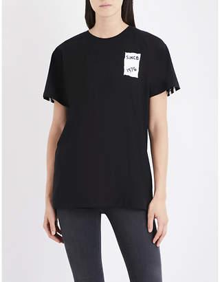 Boy London Ladies White Printed New Romantic Eagle Tape-Print Cotton-Jersey T-Shirt