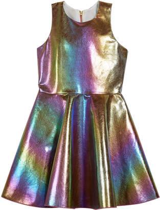 Josie Zoe Iridescent Rainbow Foil Dress, Size 4-6X