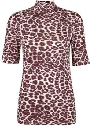 Dorothy Perkins Womens Multi Colour Short Sleeve Leopard High Neck Top