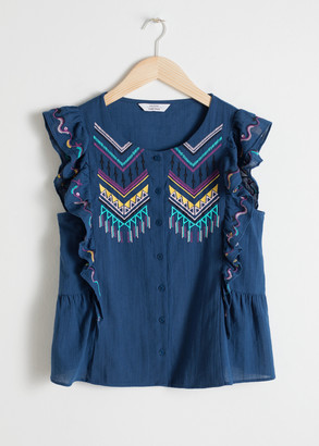 And other stories Cotton Sleeveless Embroidered Blouse