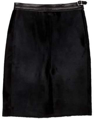 Ralph Lauren Black Label Leather Knee-Length Skirt