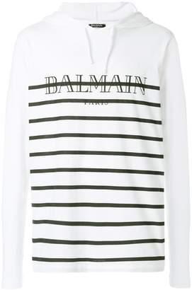Balmain Striped logo-print hooded T-shirt