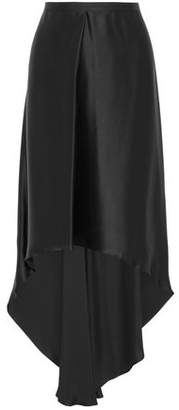 Brunello Cucinelli Aysmmetric Pleated Satin Skirt