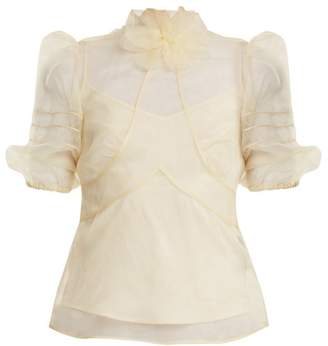 RED Valentino High Neck Silk Organza Top - Womens - Cream