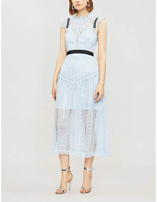 Self-Portrait Abstract Triangle lace midi dress