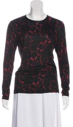 Louis Vuitton Silk-Trimmed Snakeskin Print Top