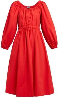 Molly Goddard Myriam Cotton Poplin Midi Dress - Womens - Red