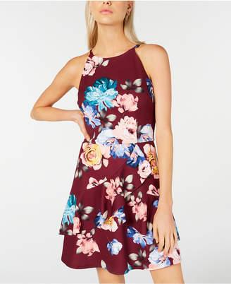BCX Juniors' Halter Flounce-Skirt Dress