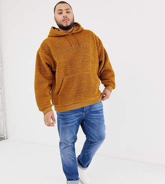 Asos DESIGN plus oversized hoodie in brown borg