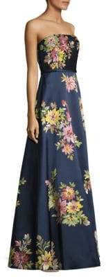 Basix II Black Label Strapless Floral Gown