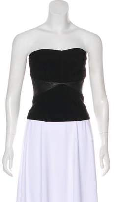 Yigal Azrouel Strapless Leather-Accented Top