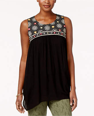 Style&Co. Style & Co Embroidered Handkerchief-Hem Tunic, Created for Macy's