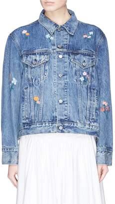 Sandy Liang 'Wells' floral embroidered denim jacket