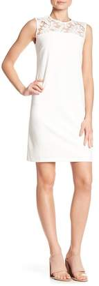Donna Ricco Illusion Crochet Lace Yoke Dress