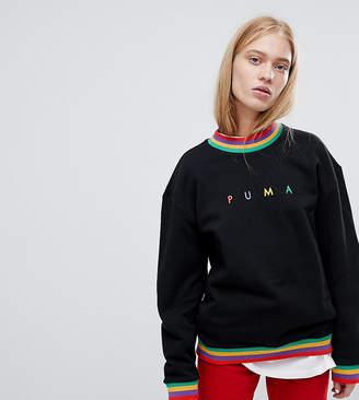Puma Exclusive Oversized Organic Cotton Rainbow Sweatshirt In Black