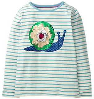 Boden Mini Girls' Colour Change Sequin T-Shirt, Blue