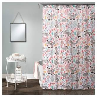 Lush Decor Pixie Fox Shower Curtain Gray & Pink