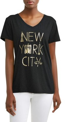 84a3d61d Hanes Women's Short-Sleeve V-Neck Graphic T-Shirt