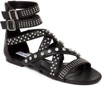 bc54b528f17 Steve Madden Black Faux Leather Shift Gladiator Studded Sandals