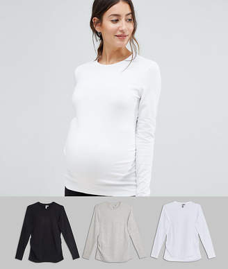 Asos DESIGN Maternity long sleeve crew neck t-shirt with bump ruching 3 pack