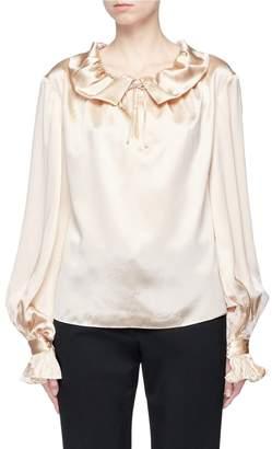 Co Pussybow lantern sleeve silk satin blouse