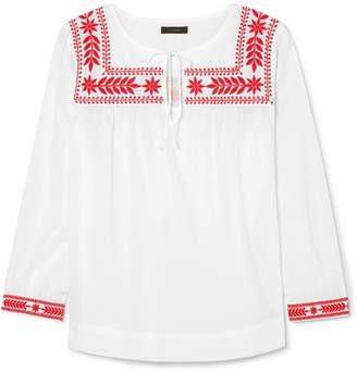 J.Crew Semolina Embroidered Cotton-voile Blouse - White