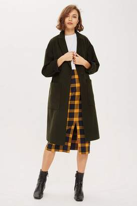 Topshop Bonded Coat With Wool