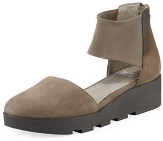 Eileen Fisher Mesh Nubuck Platform Comfort Sandals