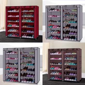 Balance Bar Shoe Shelf Rack Storage Closet Organizer Cabinet Portable 7 Layer With Cover