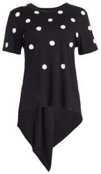 Oscar de la Renta Women's Polka-Dot Tie-Back Tee - Black - Size XL