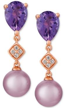 LeVian Le Vian Cultured Freshwater Ultraviolet Pearl (7mm), Grape Amethyst (2 ct. t.w.) & Diamond Accent Drop Earrings in 14k Rose Gold