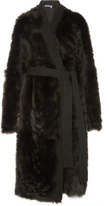 Agnona Cashmere Knit-Trimmed Shearling Coat