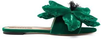 Rochas Flower Applique Velvet Slides - Womens - Green