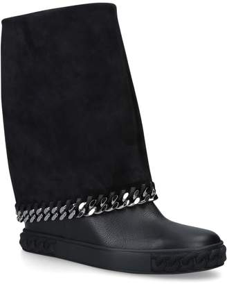 Casadei Leather Chain Boots