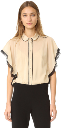 RED Valentino Ruffle Sleeve Blouse $575 thestylecure.com
