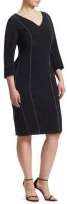 Marina Rinaldi Marina Rinaldi, Plus Size Fitted V-Neck Sheath Dress