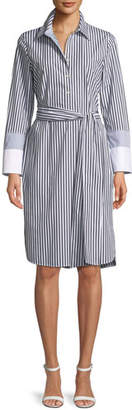 Lafayette 148 New York Fabiola Saxony Stripe Poplin Shirtdress