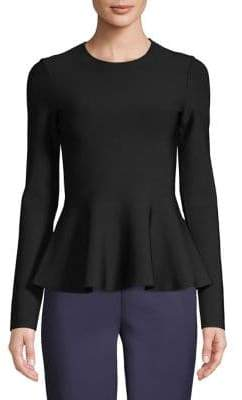 Theory Ribbed Long-Sleeve Peplum Top