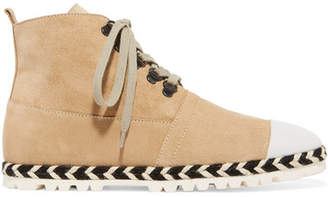J.W.Anderson Leather-trimmed Suede Ankle Boots - Beige